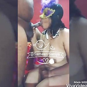 Desi wifey Saniya deep blowing hubby039;s dick