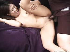 Oriental beauty stretches her gams and a wild man deeply tears up her vagina