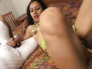 Lewd Indian doll has 2 men plumbing her furry snatch and coating her face with jism