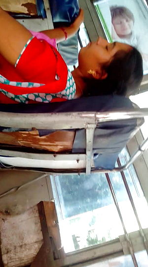 Tamil youthfull married dame scorching side glance in bus (part 2)